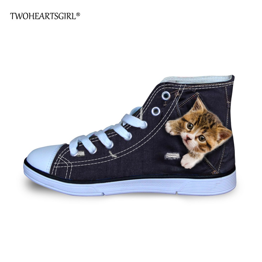 Twoheartsgirl Cute 3d Animal Cat Dog Print Canvas Shoes for Kids Boys Girls High Top Kids Flats Sneakers Casual Shoes Lace Up skull cat print crescent hem top