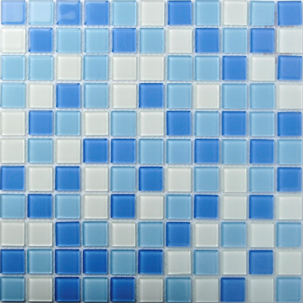 TST Crystal Glass Tiles Blue Glass Mosaic Tile Iridescent Sea Glass ...