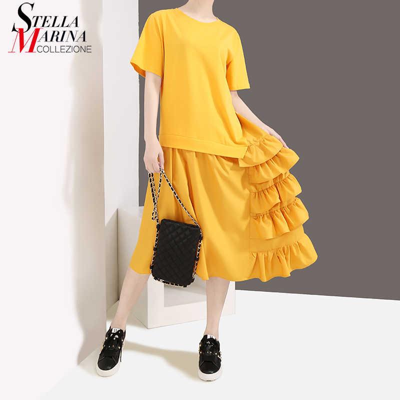 Женский сарафан с короткими рукавами, желтое или черное платье до колен с оборками, модель 4967 в корейском стиле на лето, 2019