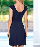 Fashion Women Short mini Dress Sleeveless V Neck Sexy Slim Party Dress Pleated Empire Waist A Line beach Dress LJ4865M 3