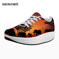 INSTANTARTS Height Increasing Platform Shoes Women Sunset Animal Printed Casual Swing Shoes for Ladies Woman Flats Shaps Ups