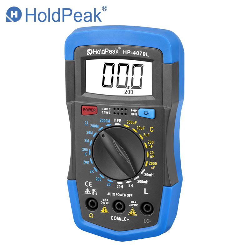 HoldPeak HP 4070L Capacitance Multimeter Digital Inductance LCD Meter hFE Test With Backlight Inductance LCR Meter