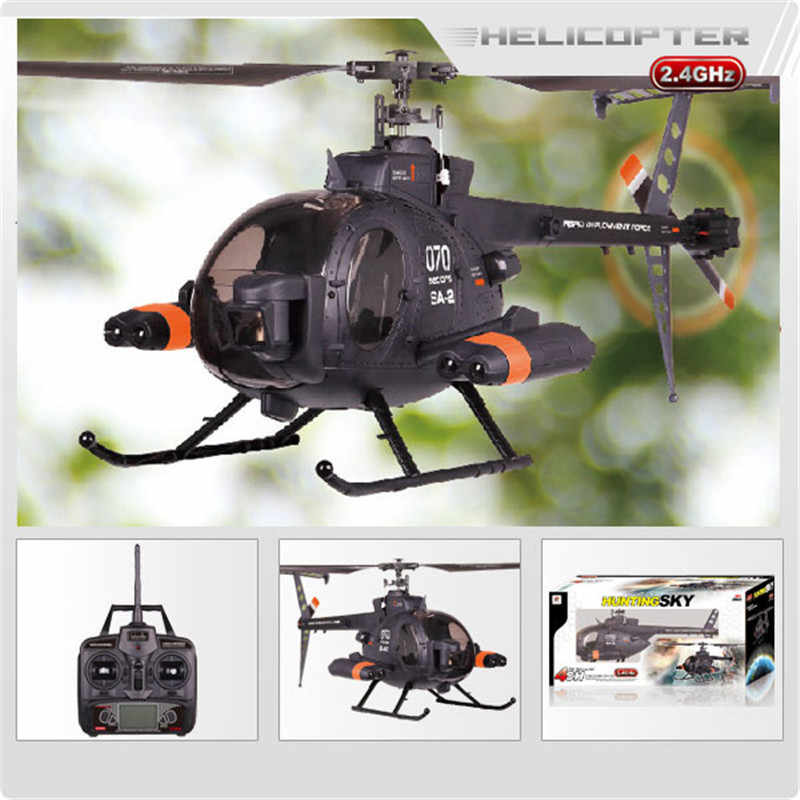 Originele FX070C 2.4G 4CH 6-Assige Gyro Flybarless MD500 Schaal RC Helicopter