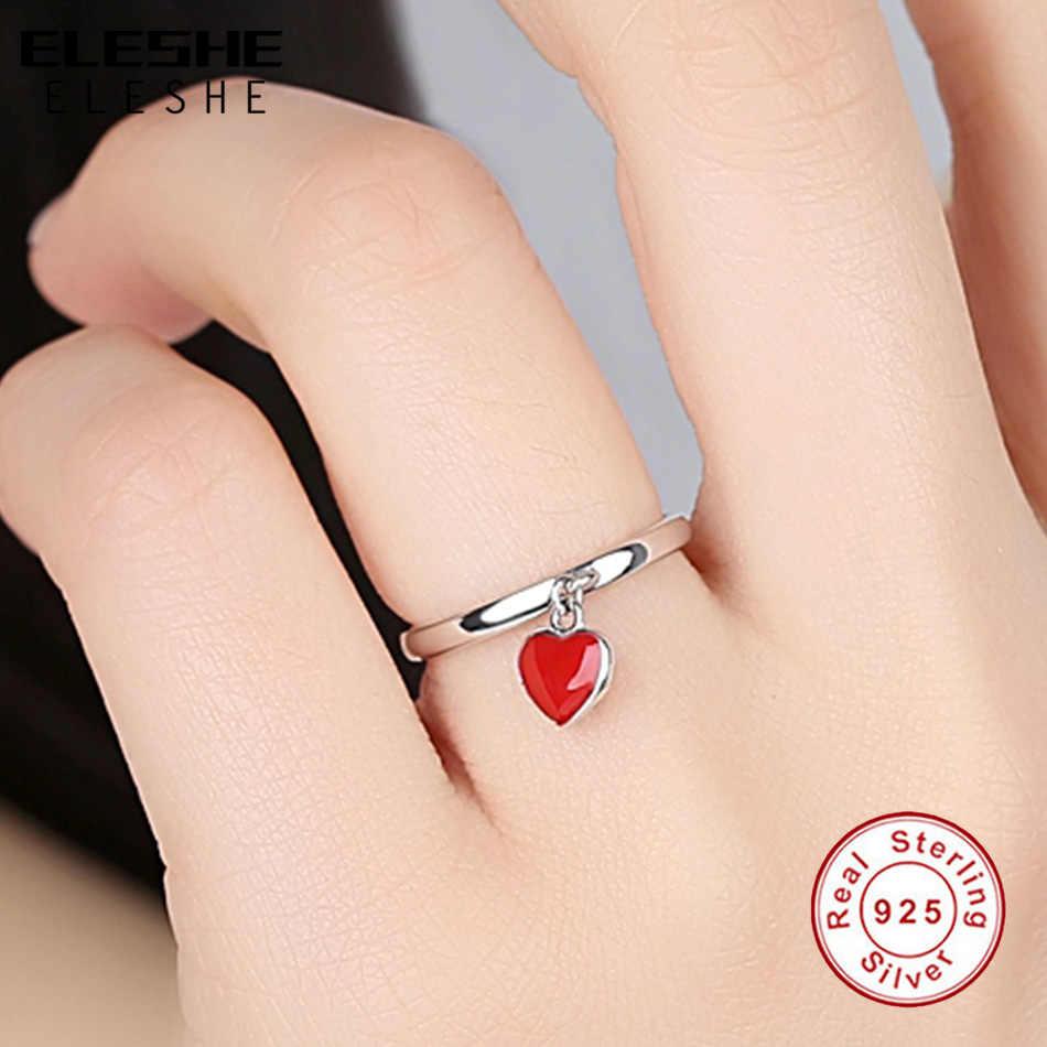 خواتم ELESHE الفريدة من الفضة الإسترلينية عيار 925 الرومانسية مع مينا أحمر على شكل قلب وخاتم إصبع للنساء مجوهرات الزفاف