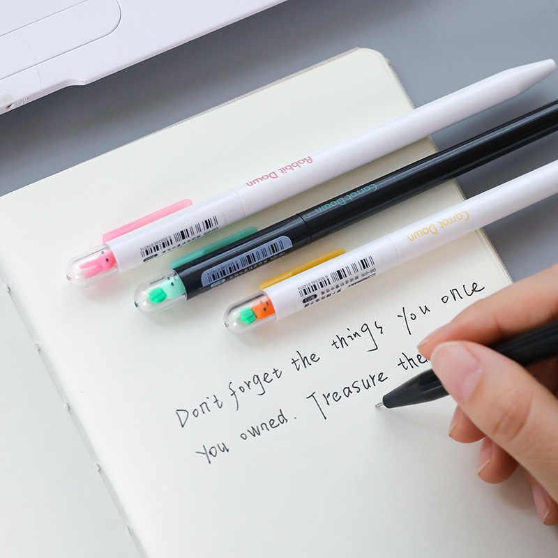 Stylo gel d'encre zakka, chat porte-bonheur, 4 pièces/lot, stylo gel d'encre zakka, mignon carotte lapin noir, fournitures scolaires