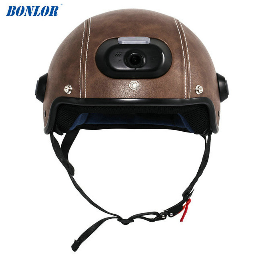 C6 Genuine Leather Helmet with WIFI Camera & Phone Answering, 2K Video Shooting with Free Mobile App Control & Waterproof IP54 answering back
