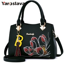 2018 Lotus embroidery handbag Women Pu Leather Handbags Fashion tassel Bag Ladies Shoulder Bag Casual Crossbody