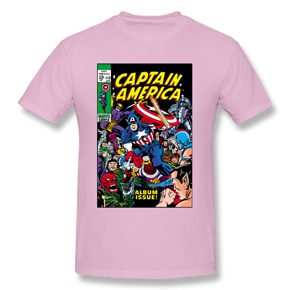 Captain-America-Comic-611 Party Tops Tees Short Sleeve for Men Cotton Summer/Fall O Neck T-Shirt Hip hop Tee Shirt New Coming Captain-America-Comic-611 pink