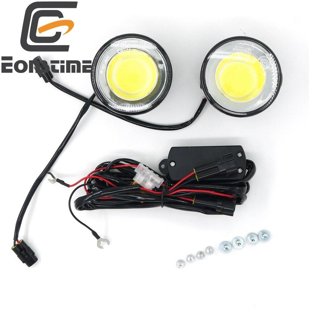 Prix pour Eonstime 12 V/24 V 2 pcs DRL Ultra Lumineux Rond 8 W COB LED Eagle Eye voiture Brouillard DRL Feux de jour Travail ATV Eagle Eye IP67 E8