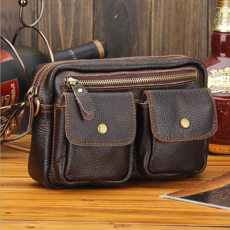 Lachiour Genuine Leather Waist Packs Pack Belt Bag Phone Pouch Bags Small Travel Messenger Bag Fashion Handbag in Crossbody Bags from Luggage Bags