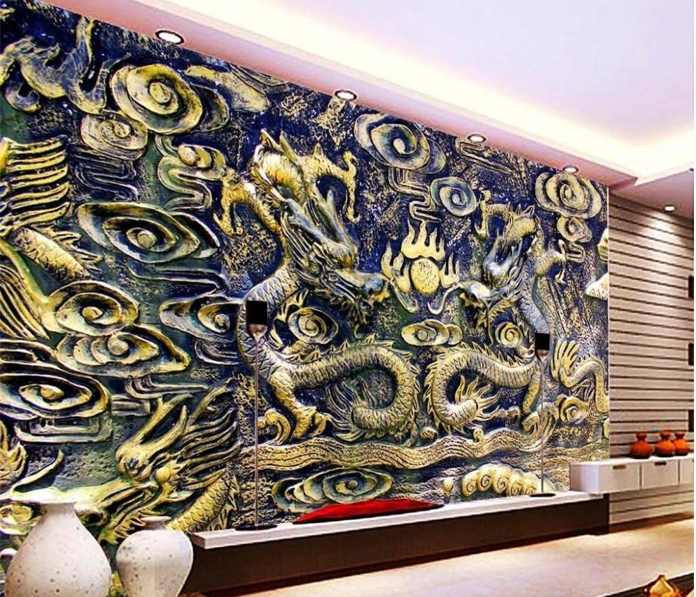 US $15 12 OFF 3d Mural Wallpaper Untuk Ruang Tamu Naga Ukiran Kayu Dinding Mural Foto Wallpaper Kamar Modern Wallpaper Modern Wallpaper Wallpapers
