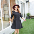 Free shipping 2017 spring and  autumn plus size clothing lace long-sleeve black dress plus size dresses for women 2xl 3xl 4xl