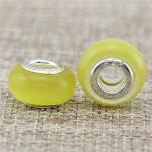 6 style Opal Silver Bead Large hole Natural stone Cat Eye Stone Sliver European Czech Bead Fit For Charm Bracelet(China)