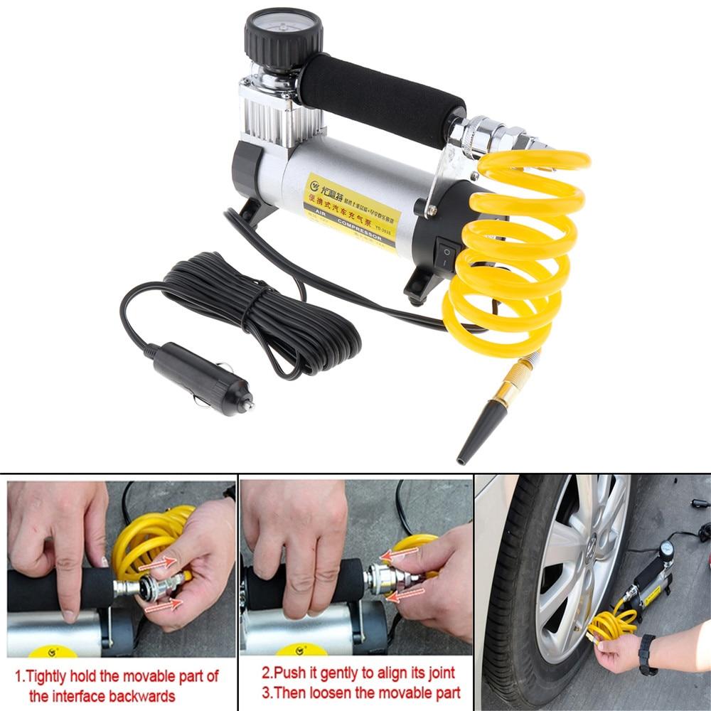 Image 5 - 100PSI 12V Portable Car Electric Tire Air Pump Compressor Inflator Mini Air Compressor Air Inflator Pump 1set-in Inflatable Pump from Automobiles & Motorcycles
