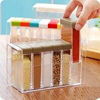 Creative 6 grid Plastic Seasoning box Stylish kitchen spice jar Simple Storage Box Transparent Storage Bottles