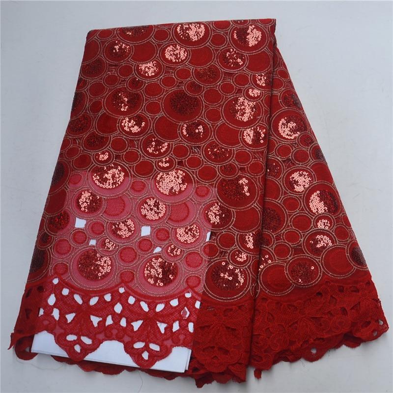 (5 yards/pc) rouge et rouge africain Organza dentelle tissu avec beaucoup de paillettes nouvelle dentelle de maille avec broderie pour la fête