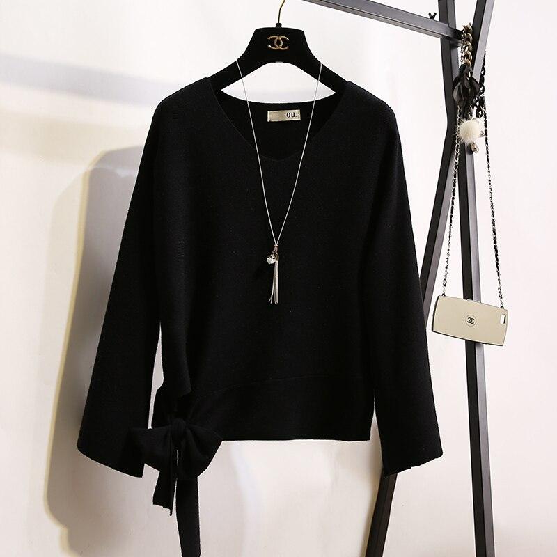 marron Nouvelle Noir Cravate blanc Pull Arc coréen V Trompette Rouge Femelle Knit Neck rouge Lâche Manches OprO7w