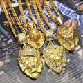 4 Design Mens Gold Lion King Crown Head Leo 3D Animal Pendant Charm with 27.5 inch Cuban Chain Necklace Hip Hop Jewelry
