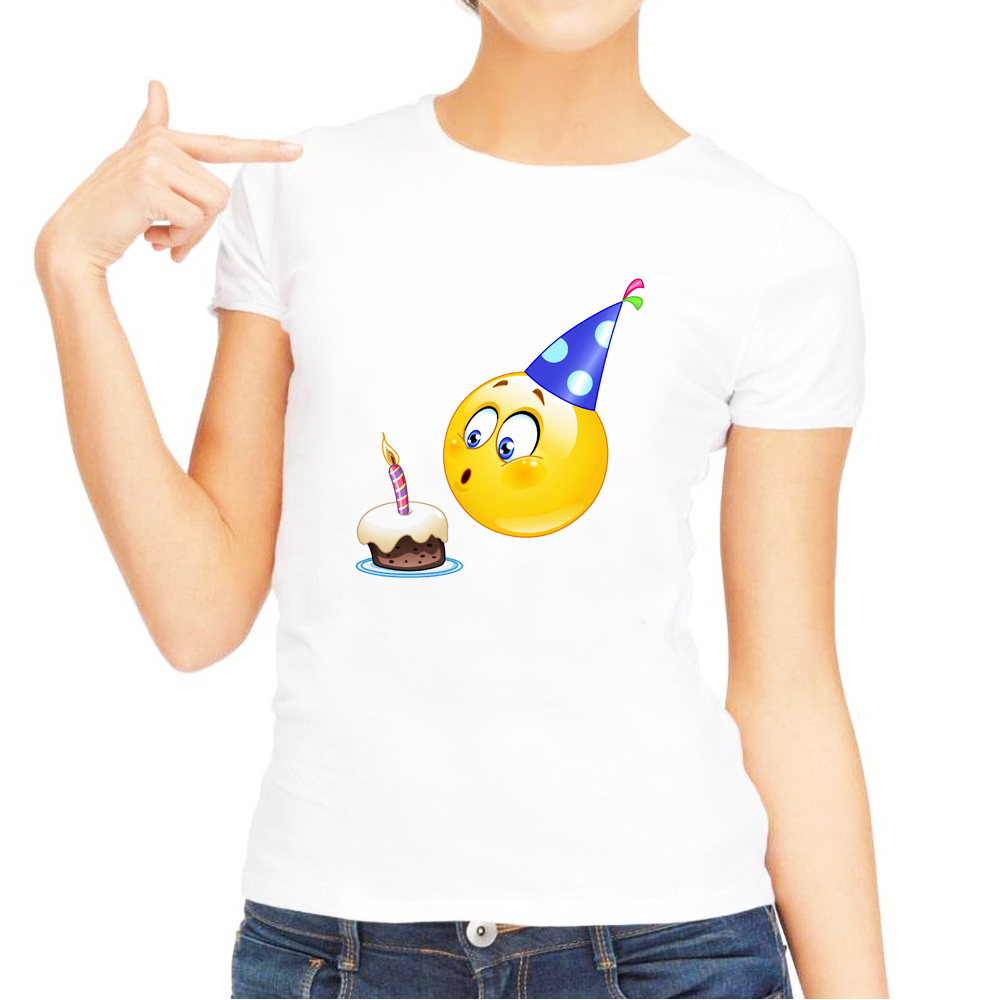 Birthday Emoji T Shirt Funny Women Tshirts Clothes 2018 Summer Top Plus Size White Short Sleeve Casual Shirts In From Womens Clothing On