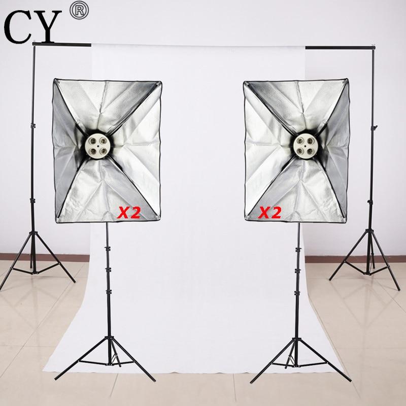 CY Photography Studio Soft Box Lighting Kits Stand+SoftBox+E27 4 Lamp Holder+Background Cross Bar+Backdrop Photo Studio Set