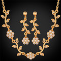 U7 Flower Jewelry Sets For Women Yellow Gold Plated Crystal Women Wholesale Wedding Bridal Necklace Earrings Sets S116