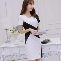 2017 New Summer Women Dress Short Sleeve Patchwork Slim Business Attire Dresses White Black 1115