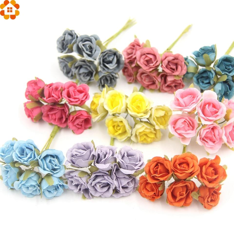 6 unids/lote decorativo scrapbooking mini flor color de rosa artificial de seda