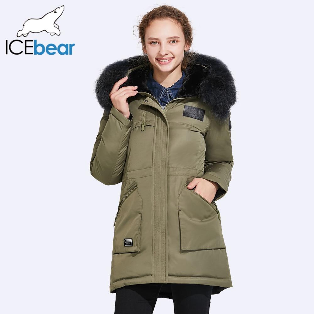 ICEbear 2017 Court Veste D'hiver Femmes De Luxe Col De Fourrure Conception Taille de Guêpe À Mettre En Évidence Taille Ligne Et Préfet Figure 17G6120