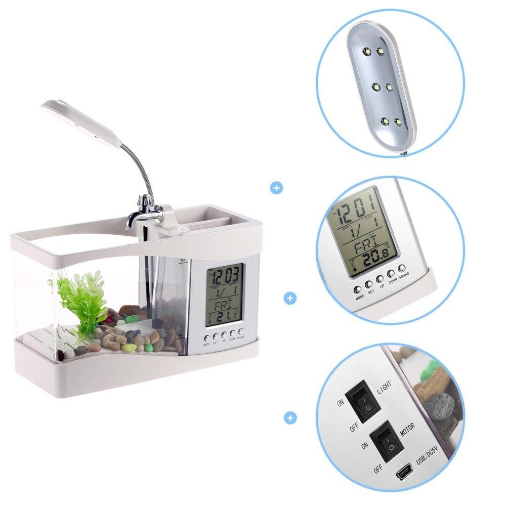 Mini Aquarium électronique de bureau Usb Mini Aquarium avec pompe à LED en cours d'exécution horloge calendrier lumière blanc noir - 4