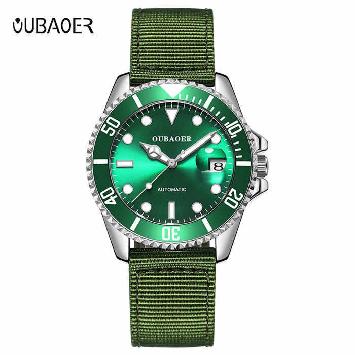 OUBAOER Black Gold Automatic Mechanical Watches Men Sport Watch Luxury Nylon Strap Watch Reloj Top Brand Montre Homme Male Clock