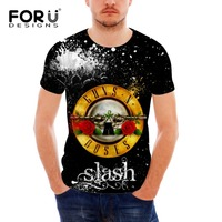 T Shirt Men Fashion Guns N Roses Pattern Mens Tshirt Hip Hop Rock Streetwear Black Tee