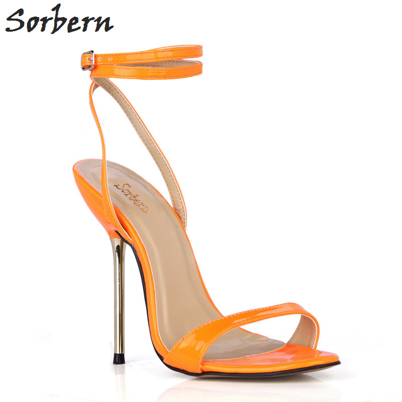 Sorbern Orange Shiny Summer Women Sandals Gold High Heels Shoes Ladies Trendy Women Shoes 2018 Summer Shoes Stilettos