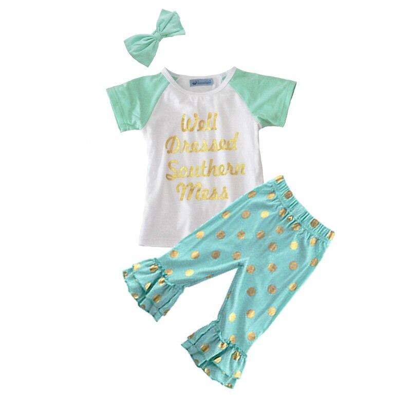 3 adet 1 adet Saç Bandı + 1 adet Gömlek + 1 adet Pantolon Çocuk giyim Seti Kız Elbise Suits Yeşil Mektup T-shirt