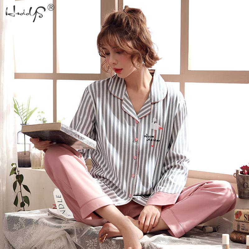 Cotton Women Pajamas Sets Striped Cartoon Kawaii Flamingo Sleepwear Nighty Female Casual Autumn Winter Pijamas Feminino 2pcs/set