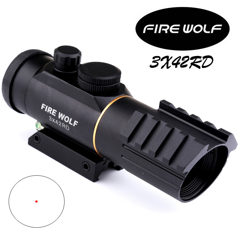 FIRE WOLF Tactical optics riflescope 3X42 Red Green Dot Sight Scope Fit Picatinny Rail Mount 11 20mm Hunting Rifle Scopes sniper tactical hunting riflescope 3 9x40e rifle scope outdoor reticle sight optics scopes with 11 20 mm rail mounts