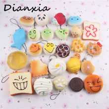 Random Style 10pcs/pack Novelty Squishy bread Slow Rising Kawaii Soft Squeeze Cute Cell Phone Strap Toy gift Dianxia