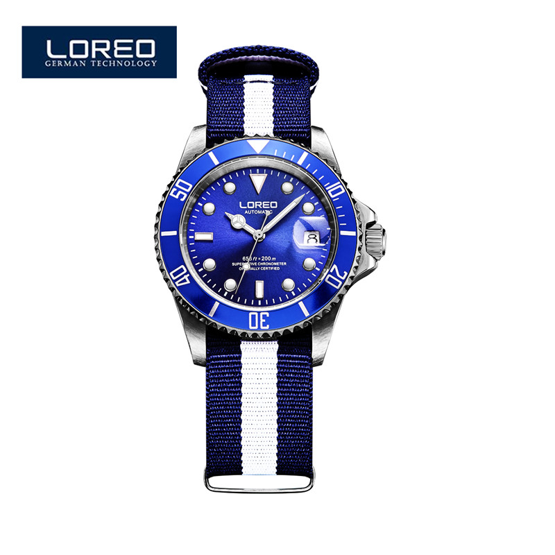 LOREO Sapphire Automatic Mechanical Watch Men Stainless Steel Waterproof Auto Date Nylon Watch Relogio Masculine AB2036 loreo sapphire automatic mechanical watch men stainless steel waterproof auto date nylon watch relogio masculine masculino k34