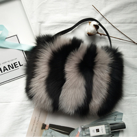 Women Real Fox Fur Handbags Clutch Bag Luxury Designer Evening Bag Famous Brand Ladies Tote Bags Shopper Tote Bags