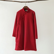 2016 Женщин Зимы Старинные Китайский стиль Стоять воротник Толщиной Paddded Одежда Дамы Ватник Теплый Пиджаки