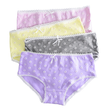 4 Pcs Lot Kids Underwear Floral Candy Colors Young Girl Briefs for Teenage Girls Short Lace