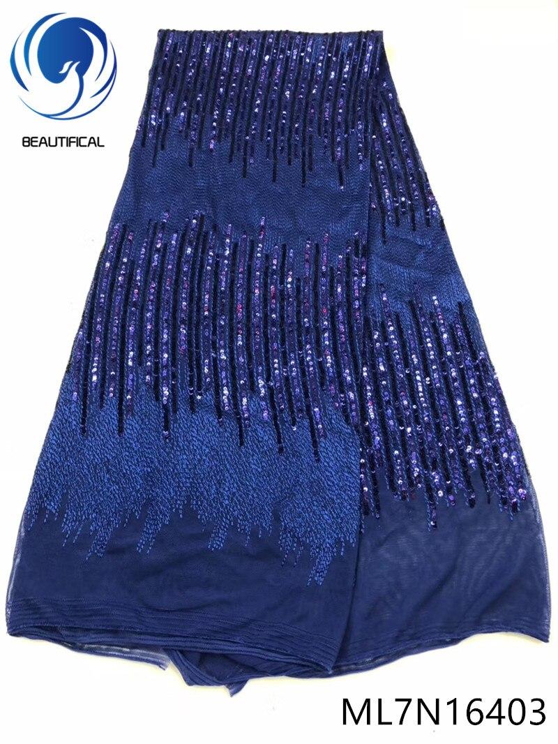 Beaux tissus africains de dentelle pour la robe 2019 nouveauté tissu élastique de dentelle de filet avec des paillettes 5yards tissu de dentelle ML7N164
