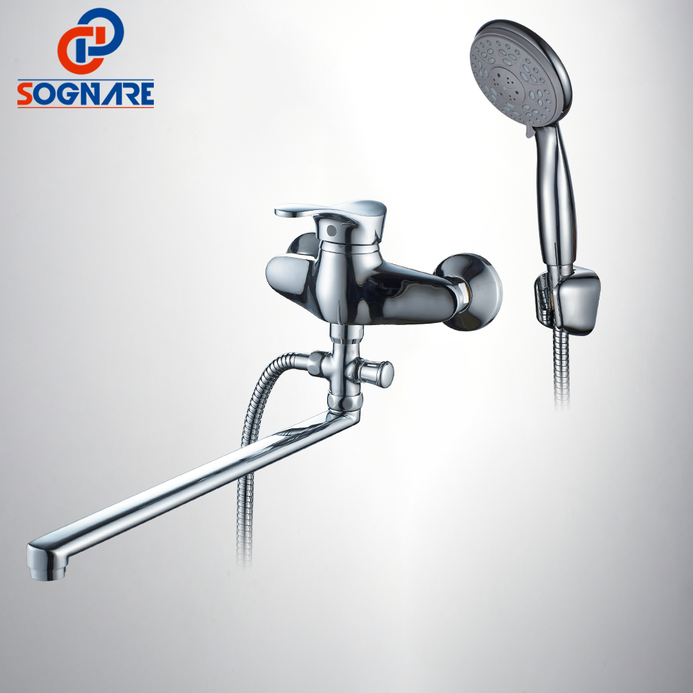 SOGNARE High-quality 40cm Long Nose Bathroom Shower Faucets Cold And Hot Bathtub Faucet Mixer Tap With Hand Shower Sets D5116 sognare new wall mounted bathroom bath shower faucet with handheld shower head chrome finish shower faucet set mixer tap d5205