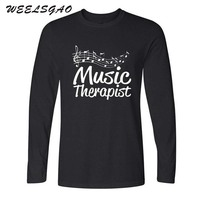 WEELSGAO Music Therapist Music Notes Score Funny Men O Neck New Tee Cotton Adult Long T
