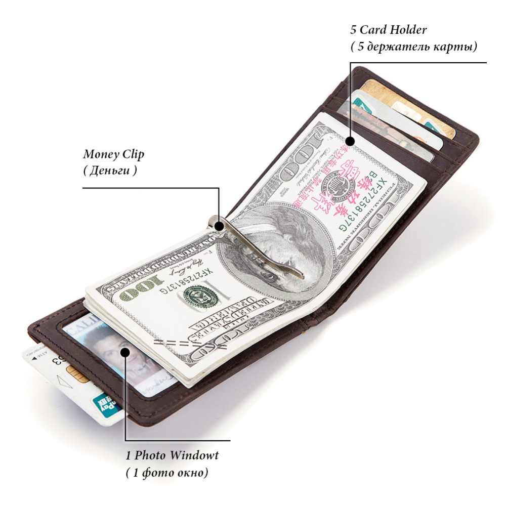 High Quality Men'S Genuine Leather Money Clips Fashion RFID Men Wallet Mini Male Purse Money Clip Clamp For Money Free Engrave