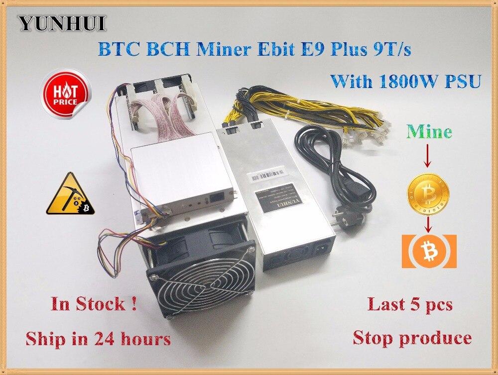 14nm Asic Miner BTC Miner utilisé Ebit E9 Plus 9T (avec psu) prix bas que S9 bonne économie miner.