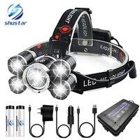 슈퍼 밝은 led 전조 등 5 x t6 led 램프 헤드 라이트 4 조명 모드 캠핑  모험  낚시 등에 사용