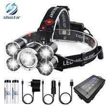 Супер яркий светодиодный налобный фонарь с 5 x t6 4 режима освещения