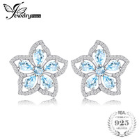 JewelryPalace Flower 2 3ct Natural Sky Blue Topazs Stud Earrings 925 Sterling Silver Trendy Earrings For