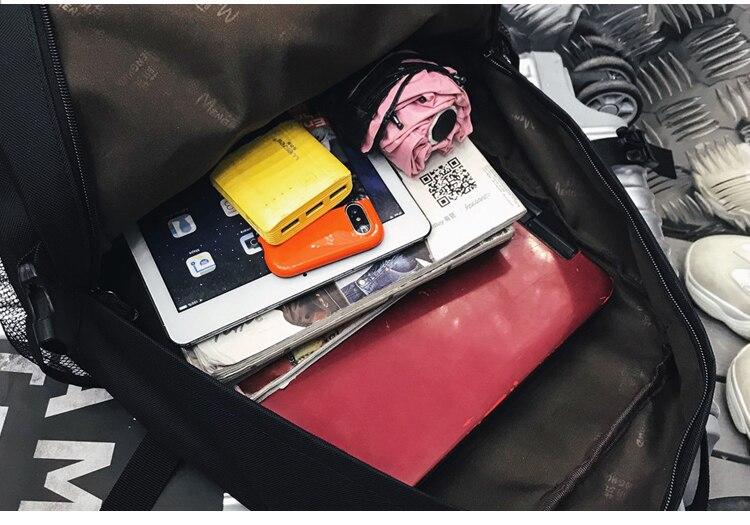 Menghuo 2PCS Mesh Pocket Backpack Purse Set New Girls Big Capacity School Bag Letters Travel Bag Men Rucksacks Mochilas Escolar_36
