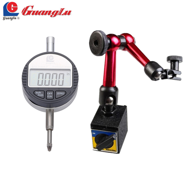 GUANGLU 2Pcs Digital Dial Indicator 0 12 7mm 0 5 0 01 With Mini Magnetic Base